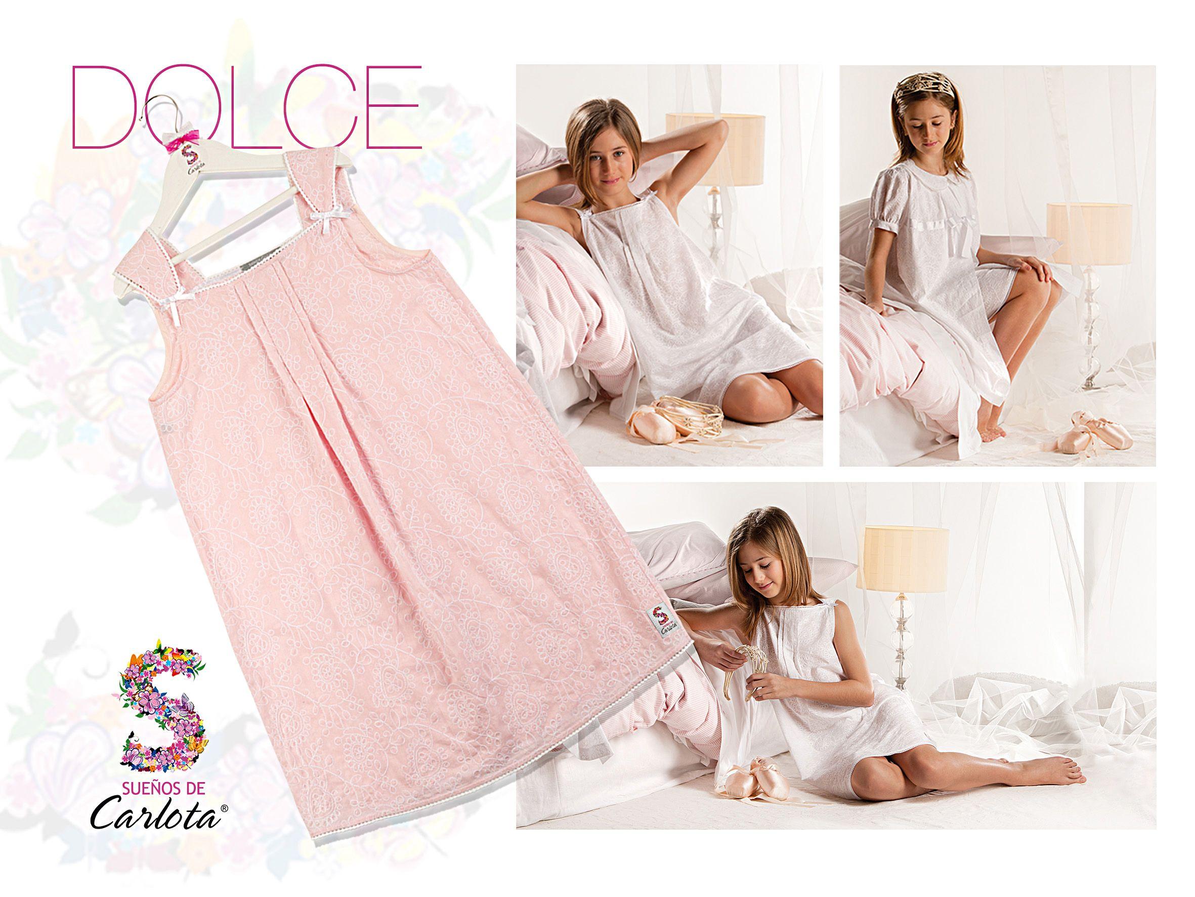 429d9271c2 Modelo de bata y camisón para niña Dolce. Conjunto lencero de líneas  románticas