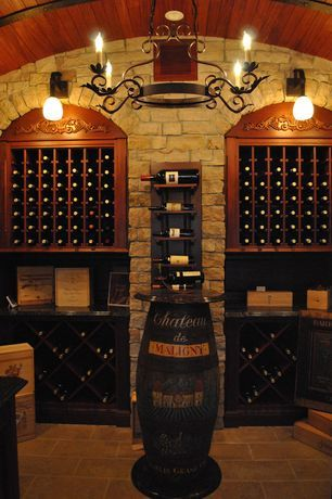 View This Great Traditional Wine Cellar With Pendant Light High
