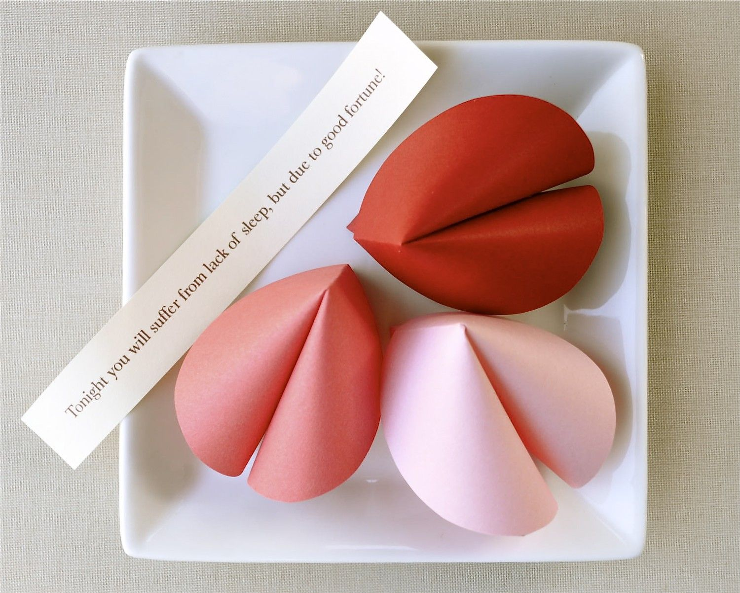 PAPER Fortune Cookie (1 cookie) - your choice of red, light pink or ...
