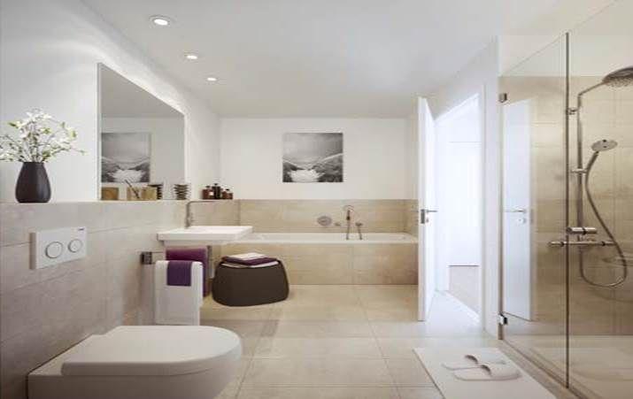 Die Badezimmer In Den Eigentumswohnungen Verfügen über Fliesen Und  Armaturen Namhafter Hersteller. Die Duschabtrennungen Aus