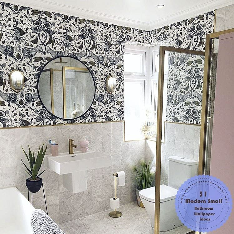 31 Simple Remodel Methods Made In Small Bathrooms With Modern Wallpapers Page 7 Of 31 Your Interior Designer In 2020 Small Bathroom Modern Wallpaper Round Mirror Bathroom