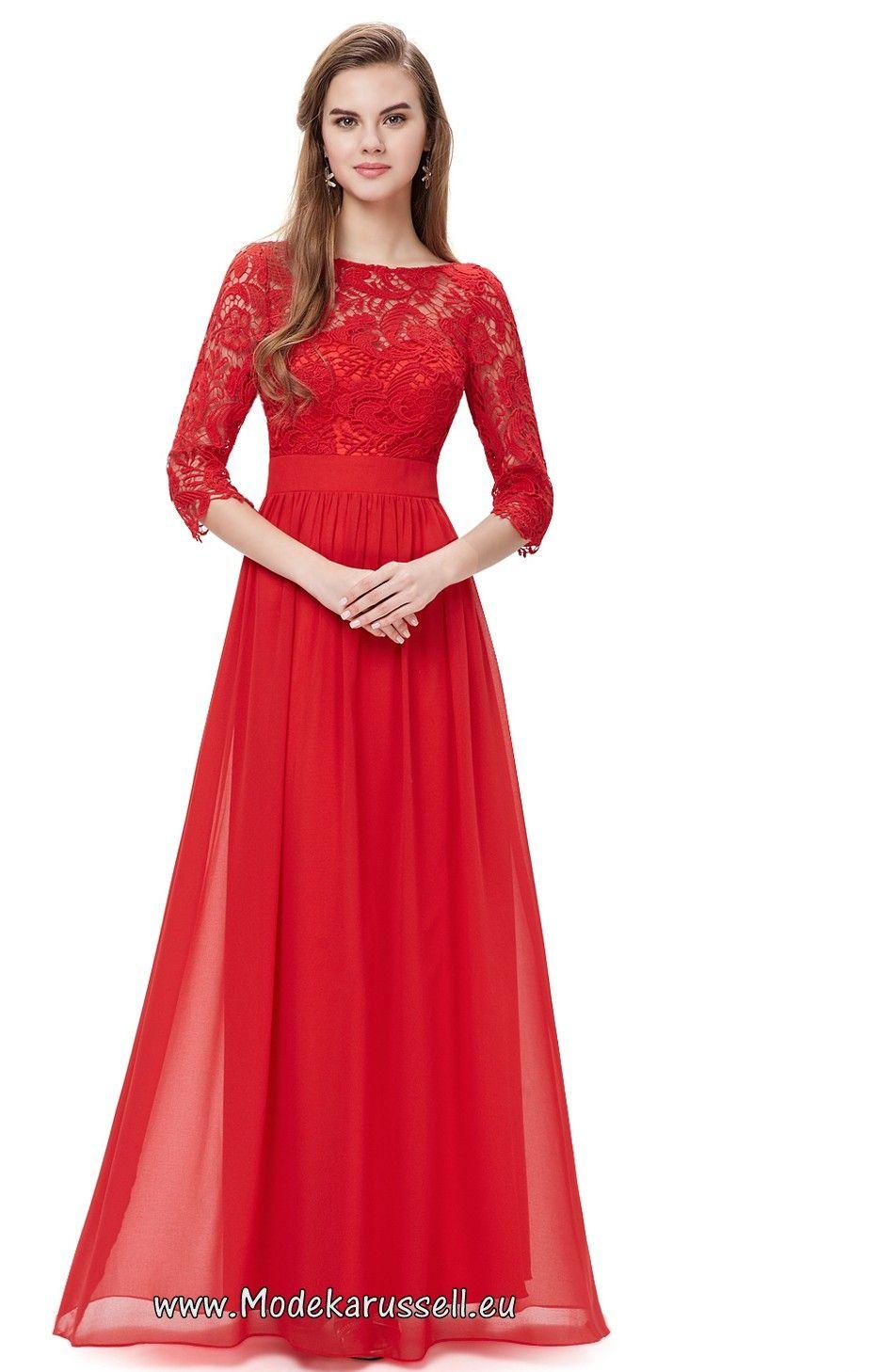 elegantes rotes spitzen abendkleid surya mehr | langes