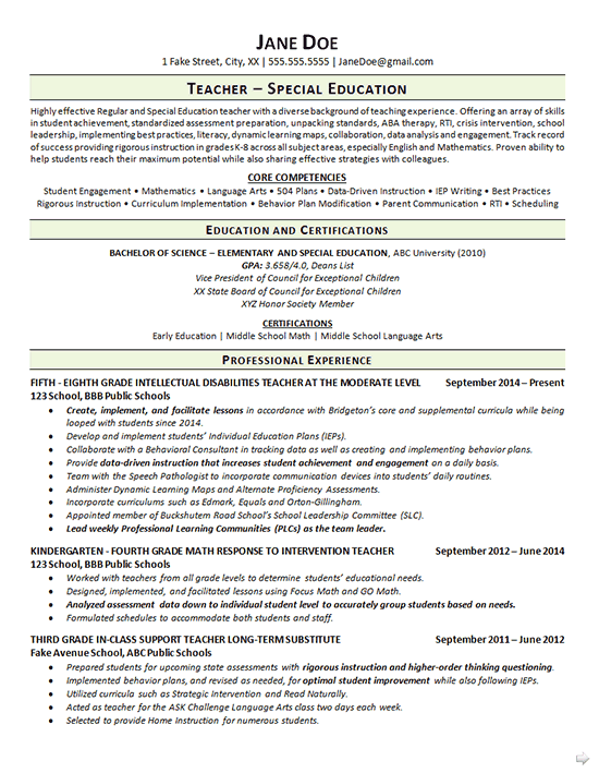 Special Education Teacher Resume Example Special Education Teacher