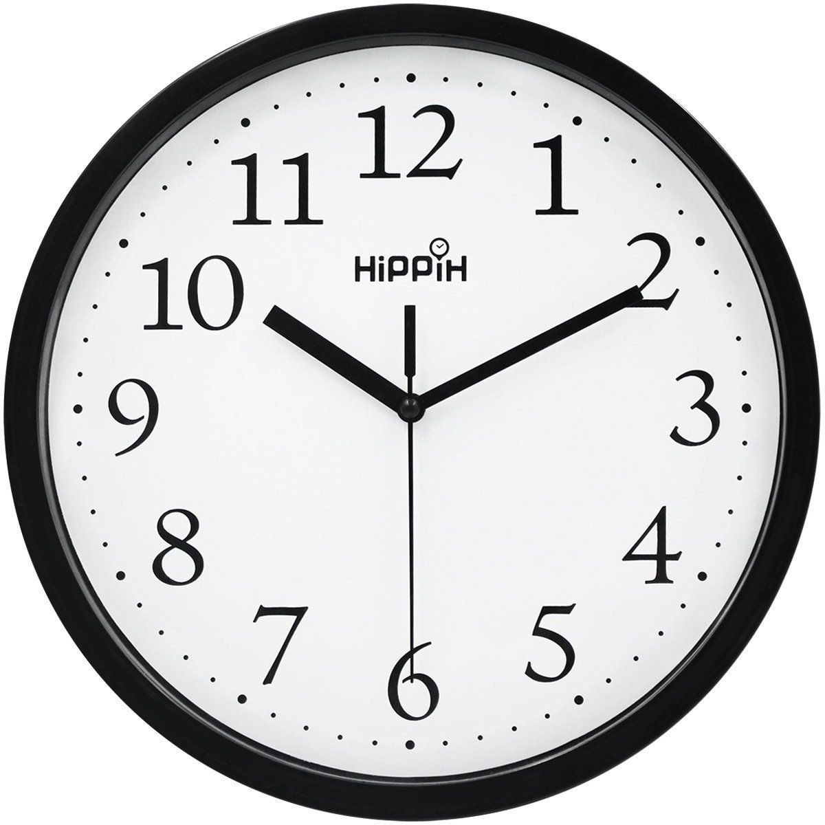 Hippih Black Wall Clock Silent Non Ticking Quality Quartz 10 Inch Round Easy To Read For Home Office School Kitchen Clock Lavorist Black Wall Clock Wall Clock Silent Large Wall Clock