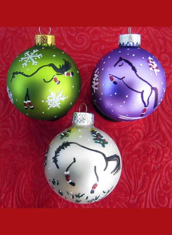 Choose Colors For 3 Hand Painted Glass Horse Play Christmas Ornaments Free U S A S H With A Christmas Ornaments Painted Christmas Ornaments Horse Ornaments Diy