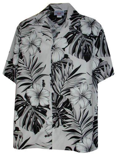 new mens white hawaiian aloha shirt black flowers what
