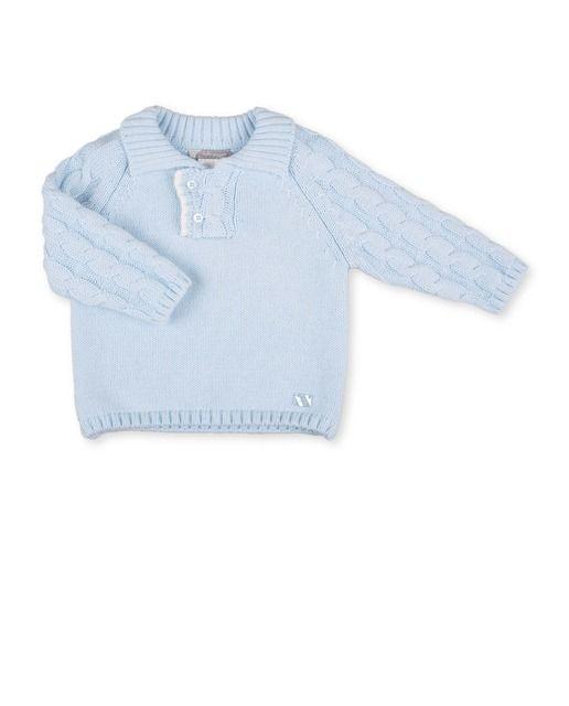 7184c5227 Jersey de bebé niño Tutto Piccolo tricot con cuello abotonado ...