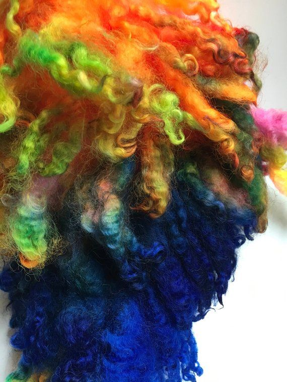 Dyed English Leicester, Wool, Lamb Fleece, 5 7 Ounces, Spin