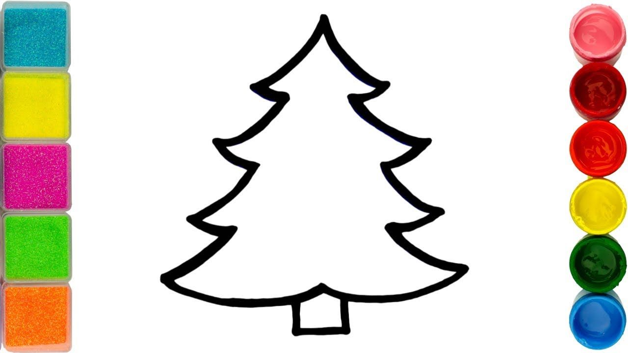 Glitter Christmas Tree Coloring And Drawing For Kids Toddlers Learn C Drawing For Kids Colorful Christmas Tree Drawings