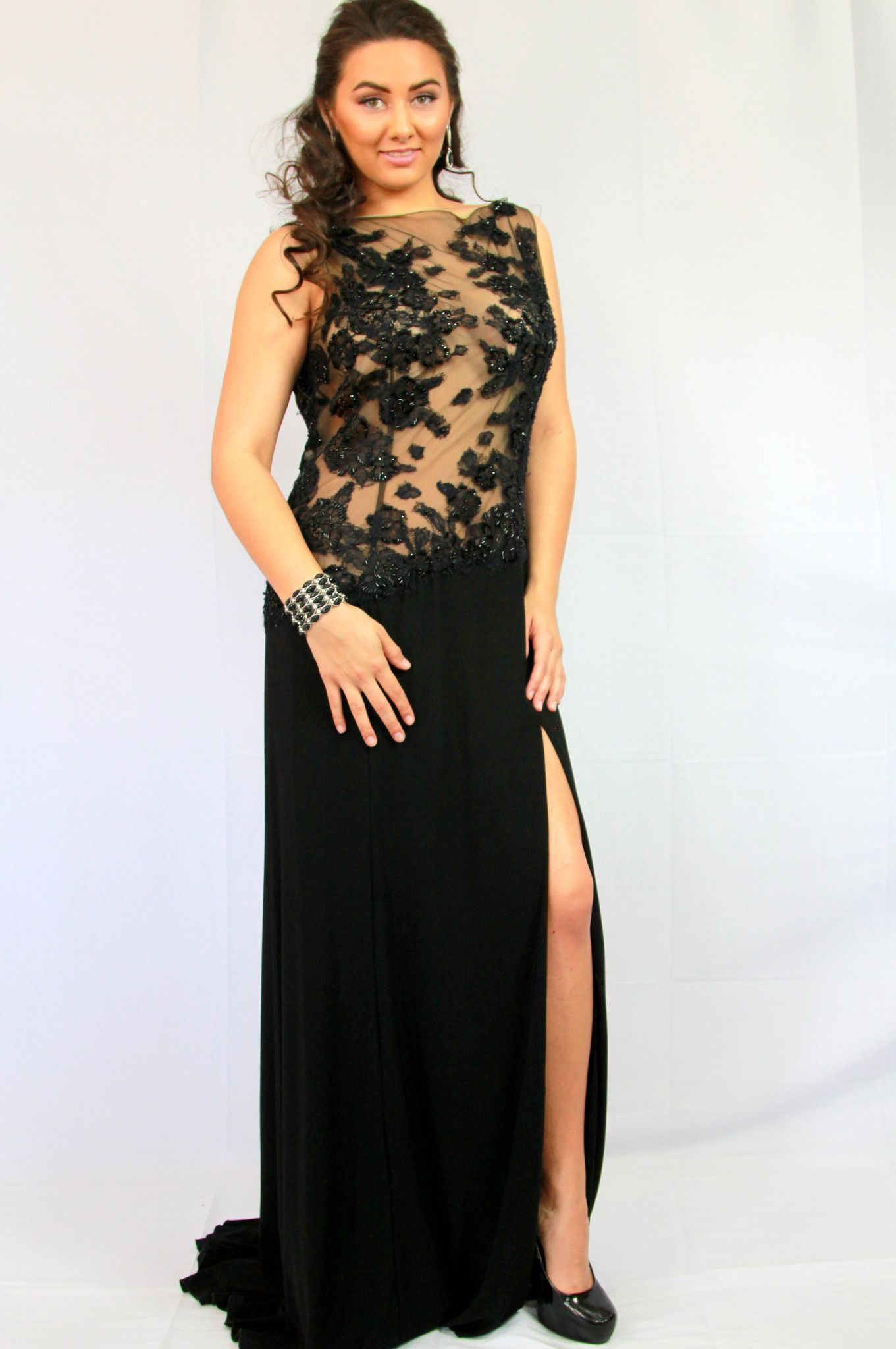 Jovani black applique beaded evening gown beaded evening gowns and