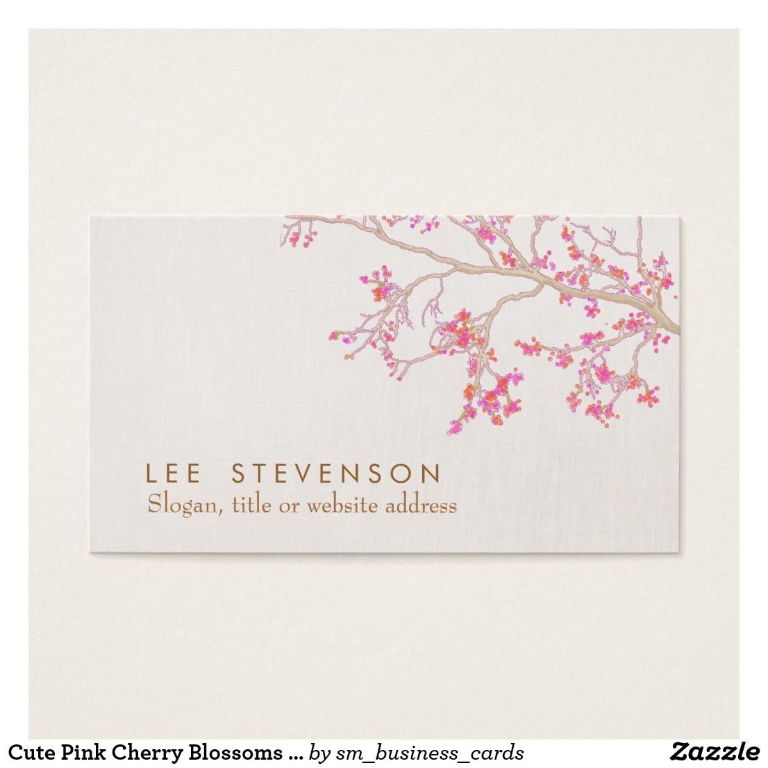 Cute Pink Cherry Blossoms Floral Nature Business Card | Pinterest ...