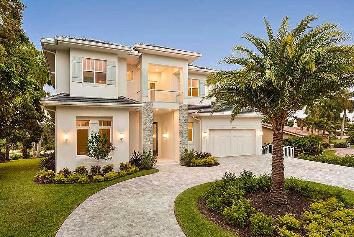With A Standard Ceiling Height Of 10 This Two Story Florida House Plan