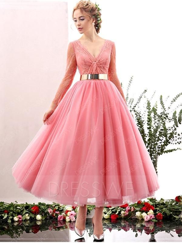1499370034  DressWe -  DressWe Lovely V-neck Long Sleeves A-line Tea Length Belt Prom  Dress - AdoreWe.com