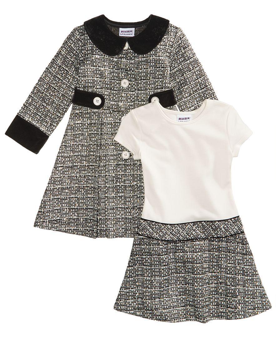 b84ddff18 Blueberi Boulevard 2-Pc. Tweed Coat and Dress Set