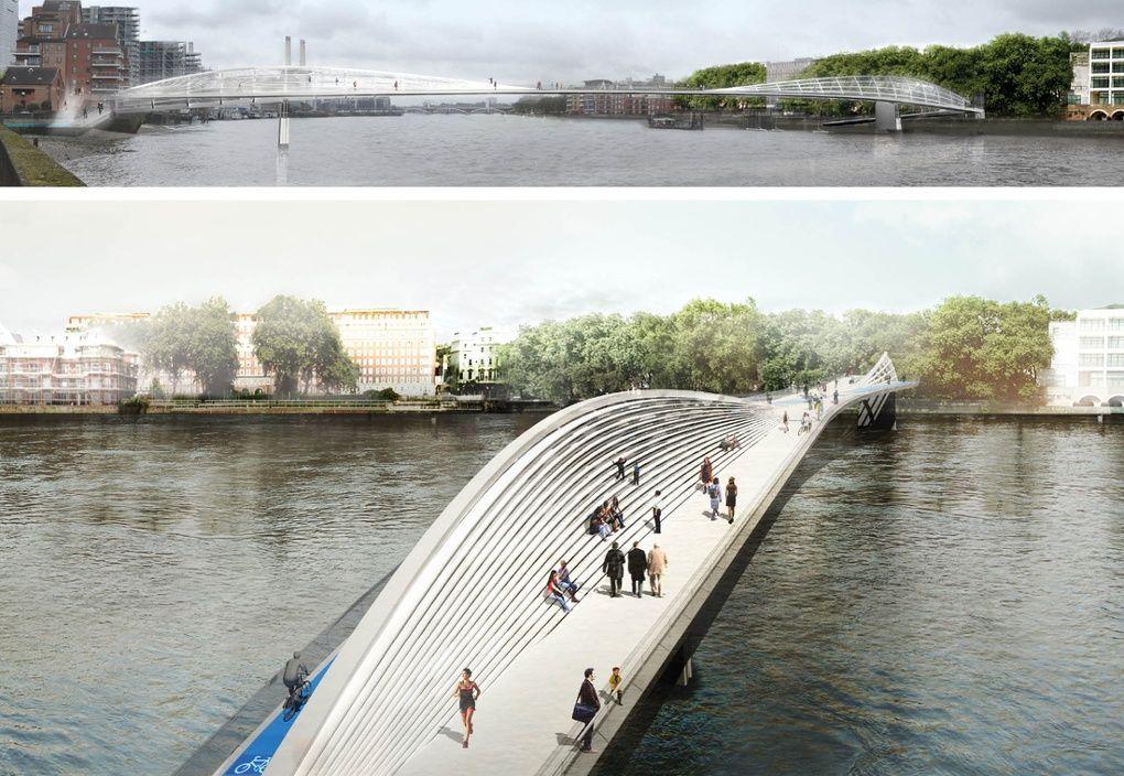 New bike and pedestrian thames bridge designs in for Design bridge london