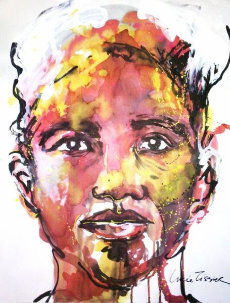tableau peinture visage portrait peinture encre de chine personnages encre de chine homme la. Black Bedroom Furniture Sets. Home Design Ideas