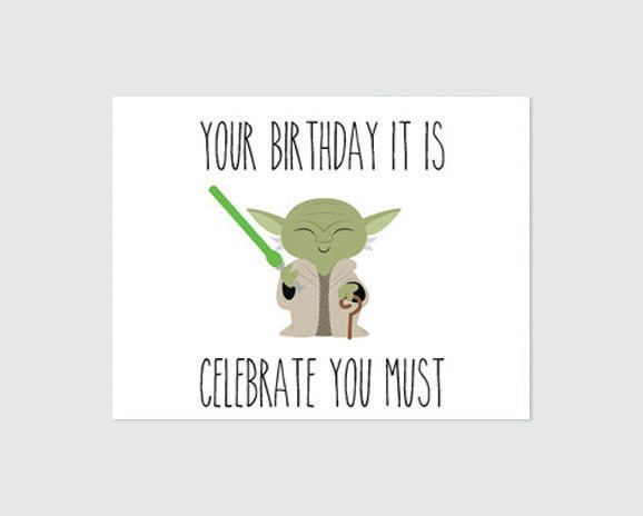 Star Wars Birthday Card Printable Yoda Por Remembernovembershop