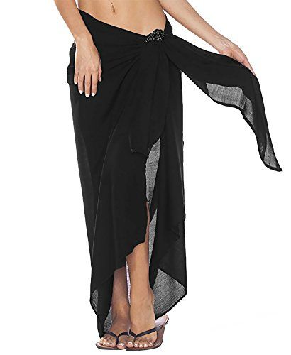 894f837c1ffada Oryer Womens Sarong Wrap Beach Pareo Swimwear Chiffon Cover up Swimsuit Wrap  Solid Color Beach Shawl * About the product - Color: Black / white / navy /  red ...