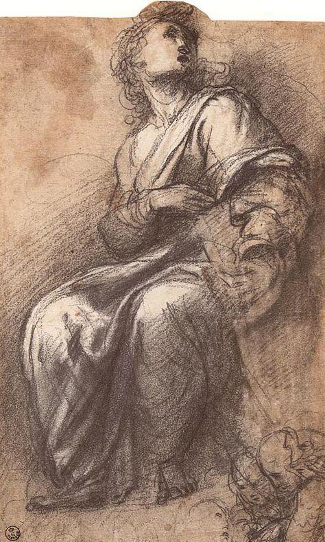 Raffaello-studio per una figura nella Disputa del Sacramento,Galleria degli Uffizi,Firenze