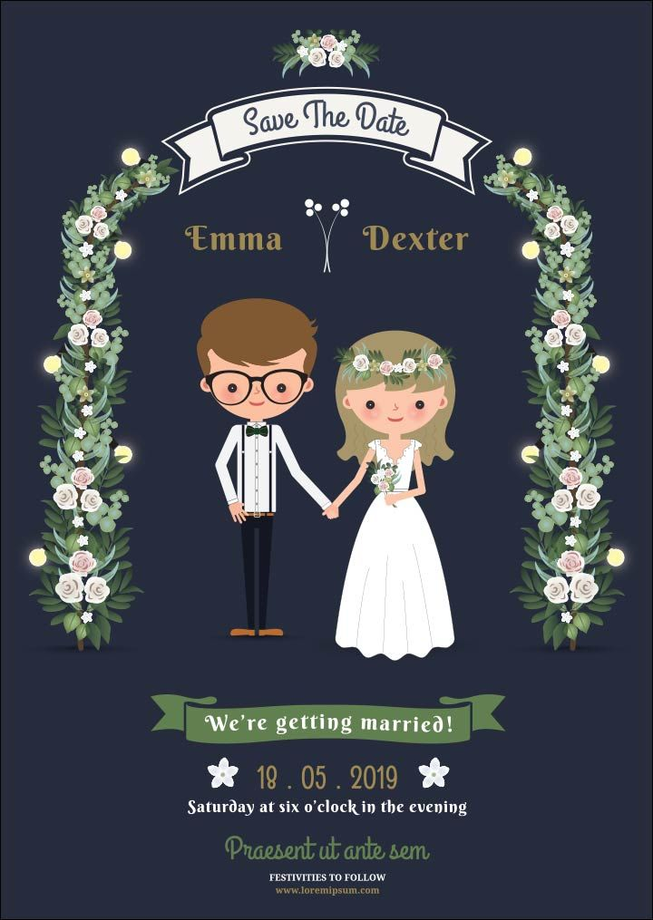 Cartoon wedding invitations tuck in neatly between