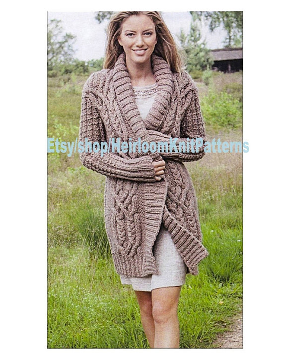 bcc20cea97e3f0 Ladies Stunning All-round Cable Jacket Knitting Pattern Chunky  Bulky  Cardigan Robe Coat Knitting Pa