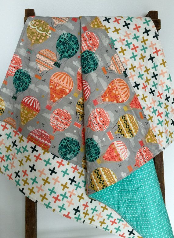 Baby Quilt, Gender Neutral, Hot Air Balloons, Gray, Teal