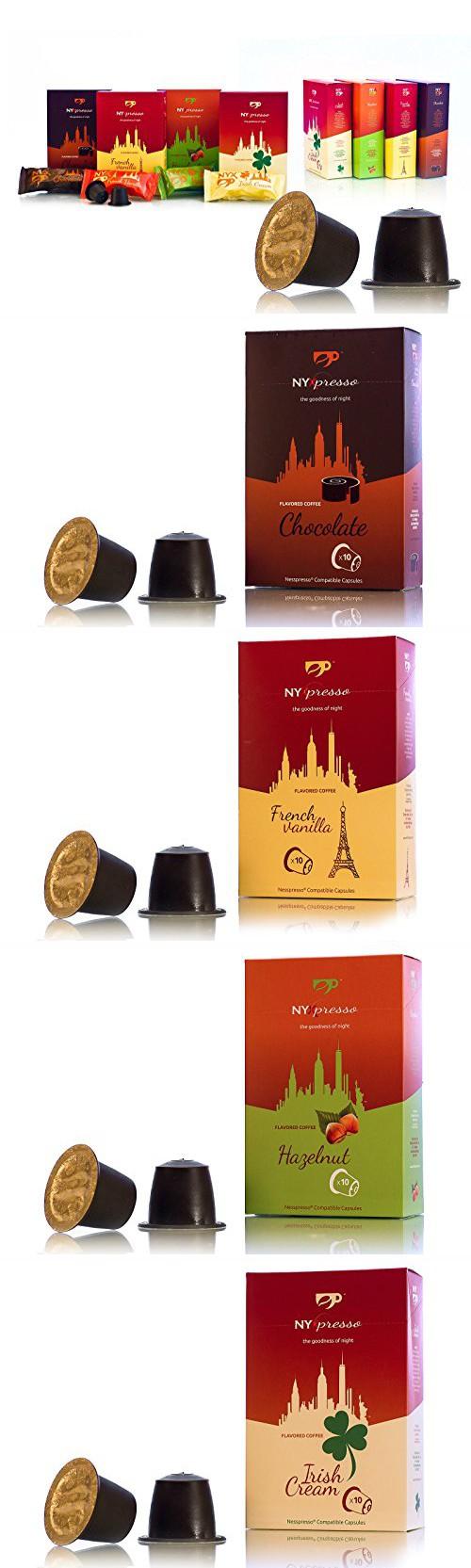 Nyxpresso Variety Pack Irish Cream Huzelnut Franch Vanilla Chocolate Nespresso Compatible Capsules 80 Pods Blended Coffee Irish Cream Fresh Ground Coffee