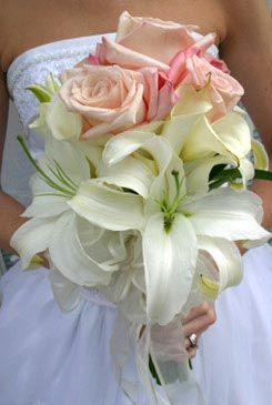 bridal bouquets - pink rose & white lily bouquet - hand tied bouquet ...