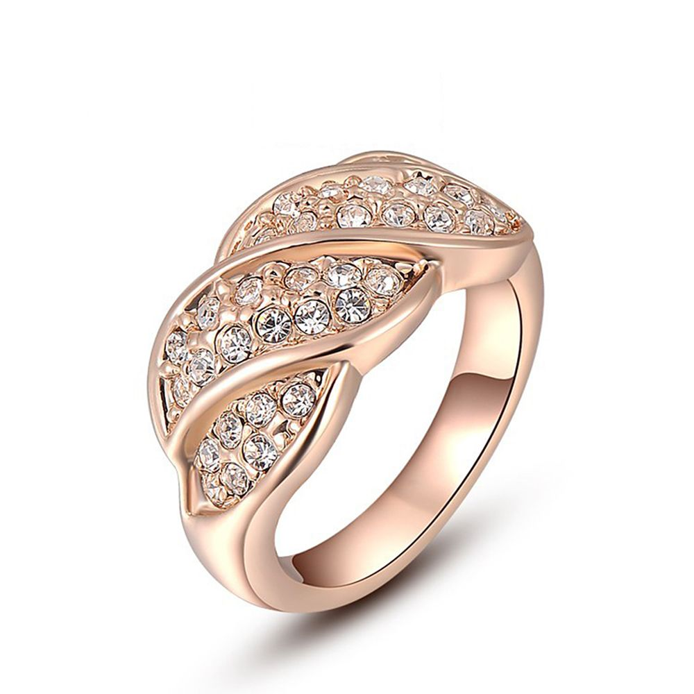 2017 Best Gift Rose Gold Color Leaves Ring Lovers Natural Stone
