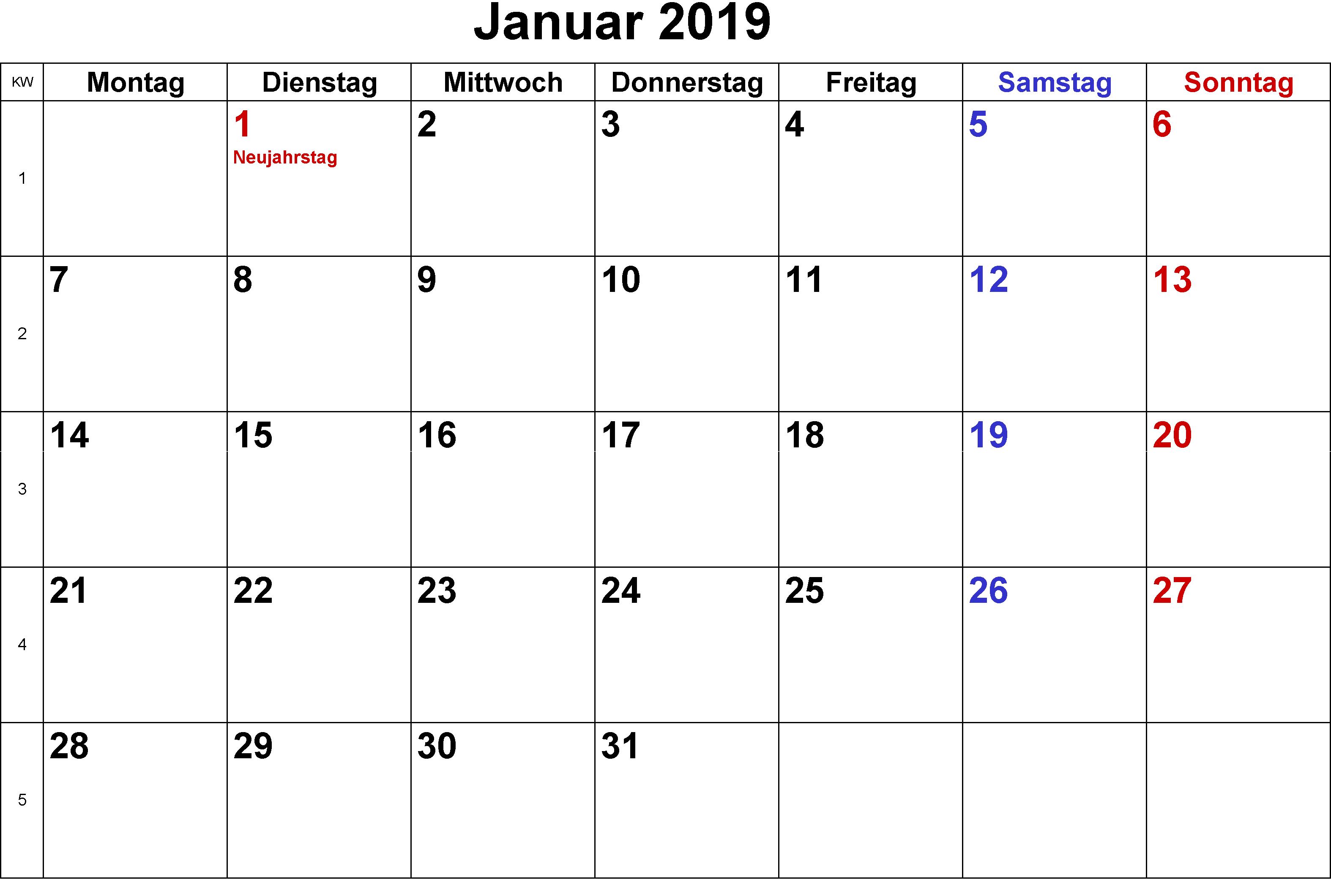 Mit Calendar 2019 Kalender Januar 2019 Mit Feiertagen | Kalender Januar 2019 Mit