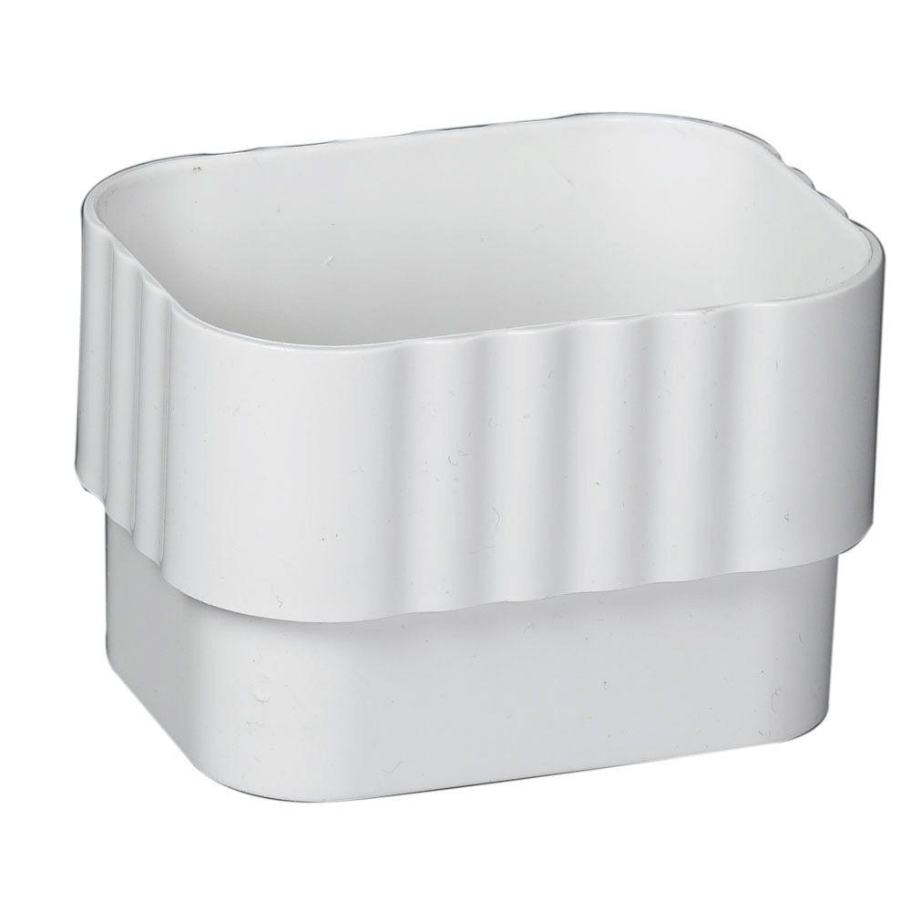 Amerimax Home Products 2 In X 3 In White Vinyl Downspout Connector M0623 White Vinyl Home Depot Gutter Accessories