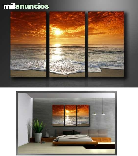 Precioso cuadro puesta del sol el cuadro de 3 piezas - totalmente ...