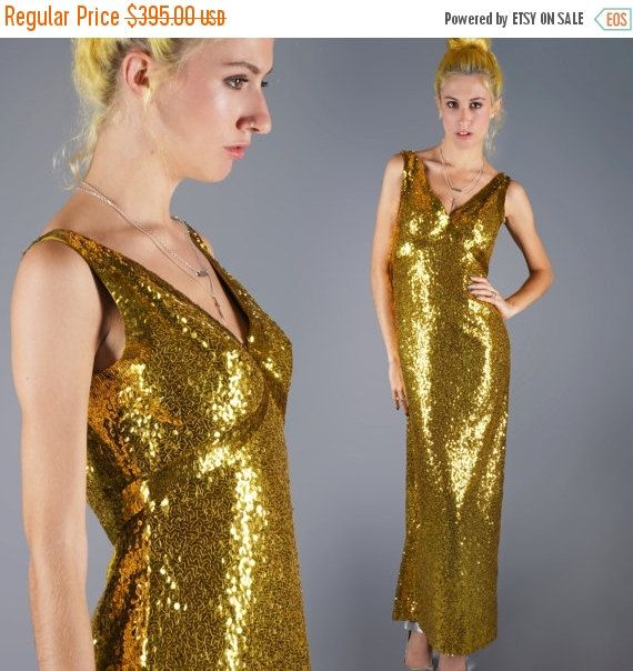 70's GOLD Sequin Dress Vintage Head to Toe by EmbersCindersVintage
