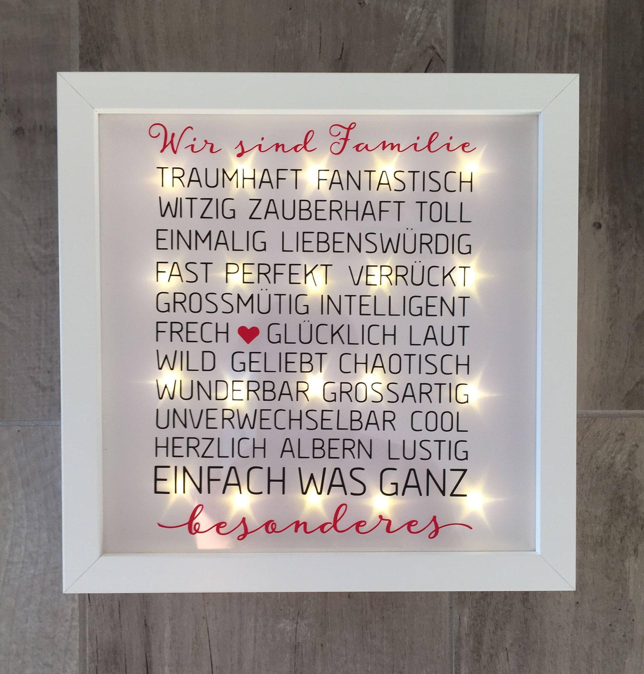 Geschenk Familie Beleuchteter Bilderrahmen Mit Spruch Familie Led Rahmen Wanddeko Gifts For Family Frames On Wall Frame