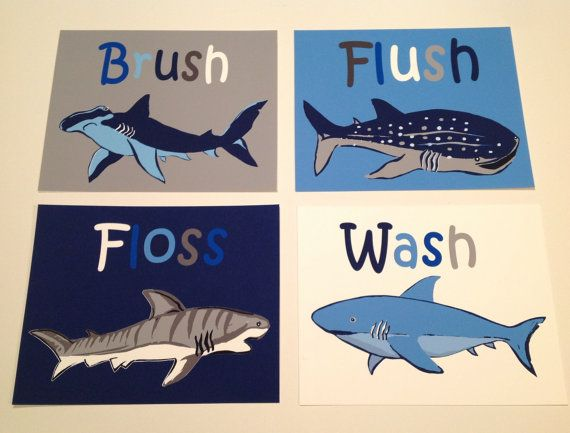 Shark Bathroom Art Wash Brush Floss Flush Bathroom Art Art Rules For Bathroom Nautical