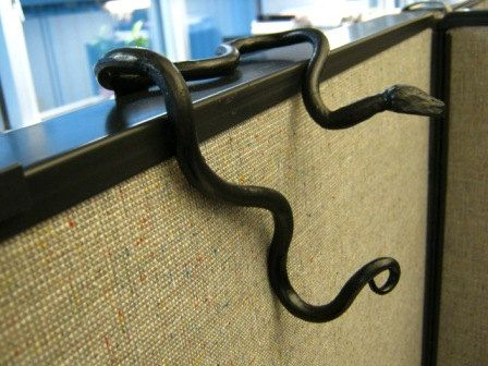 Metal Hand Forged Serpentine Snake Cubicle Coat Hook For Office Divider Parion On Etsy 35 00