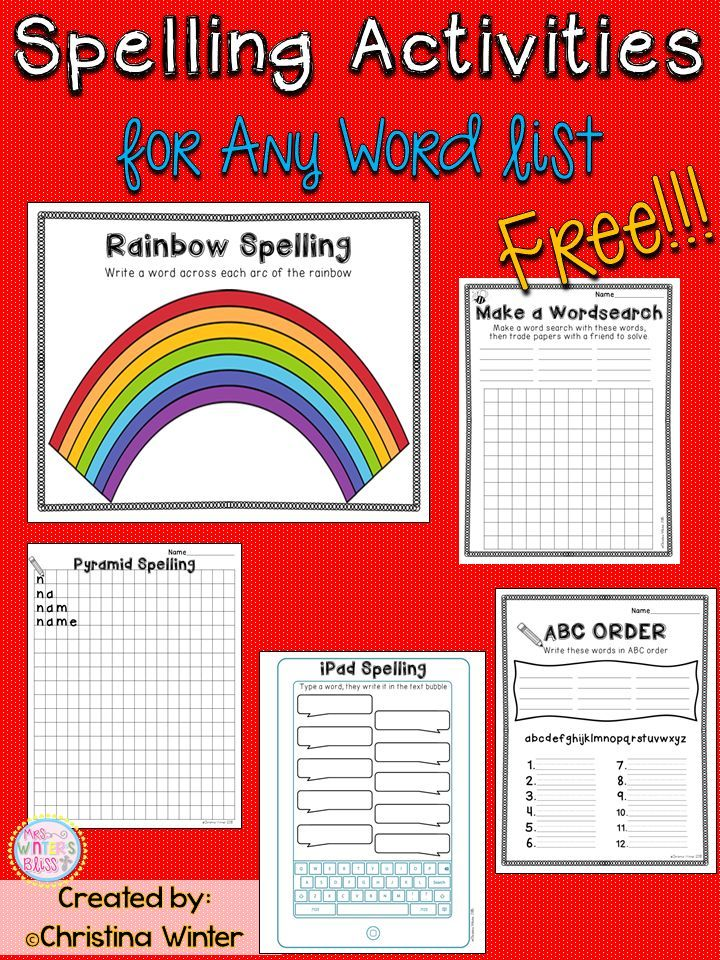 5 FREE Spelling Activities Spelling activities, Spelling