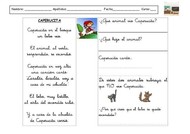 Cuento Corto Poema Preguntas Comprension Caperucita Castellano