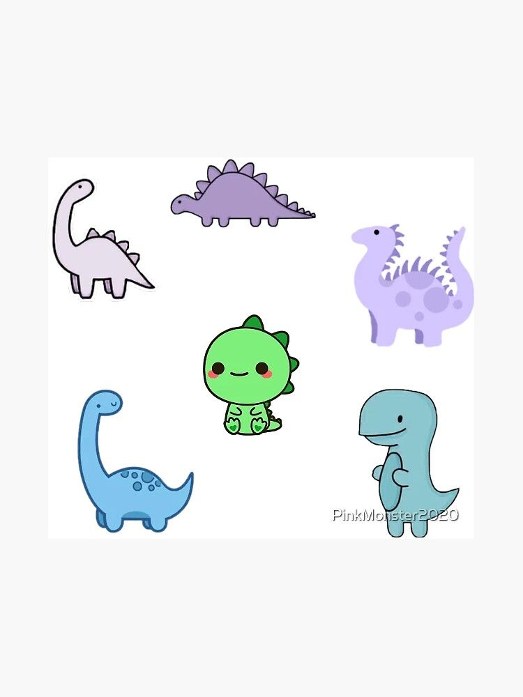 Cute Dinosaurs Package Stickers Magnet By Pinkmonster2020 Redbubble Cute Doodle Art Cute Dinosaur Easy Dinosaur Drawing
