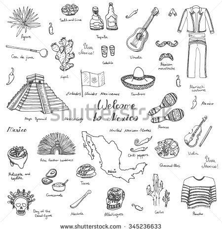 #illustration #guacamole #mariachi #sombrero #elements #maracas #sketchy #mexican #tequila #mexican #pyramid #mexico #poncho #doodle #mexicoHand drawn doodle Mexico set Vector illustration Sketchy mexican food icons United Mexican States elements Flag Maracas Sombrero Viva Mexico Maya Pyramid Aztec Tequila Agave Mariachi Poncho Guacamole