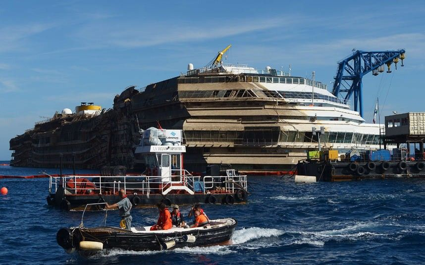 Costa Concordia Latest Photos From Giglio Of The Righted Cruise - What was the last cruise ship to sink