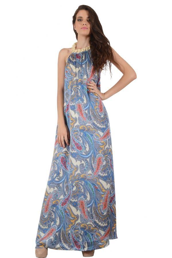 6c9eb433eae8 Φόρεμα σατέν εμπριμέ μακρύ εξώπλατο σε ριχτή γραμμή με λούρεξ κορδόνι στον  λαιμό δεμένο πλεξούδα