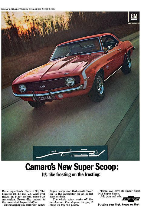1969 Chevrolet Camaro New Super Scoop 1969 Art Print by Digital Repro Depot