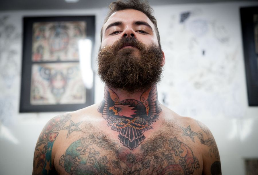 Bearded Man With Traditional Eagle Neck Tattoo Eagle Neck Tattoo