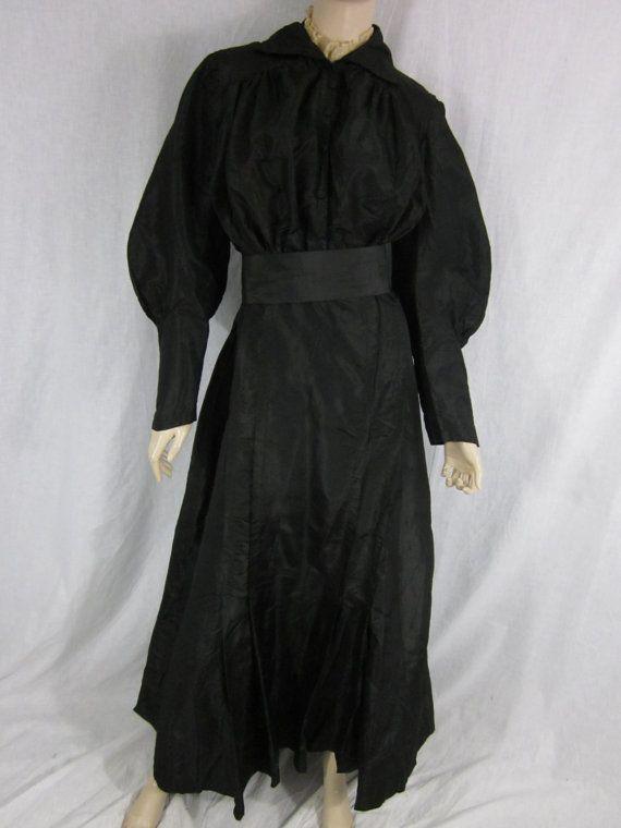 Victorian Black Taffeta Dress by MarigoldVintageWear on Etsy, $198.00
