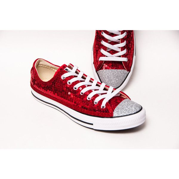 Sequin Red Canvas Customized Converse