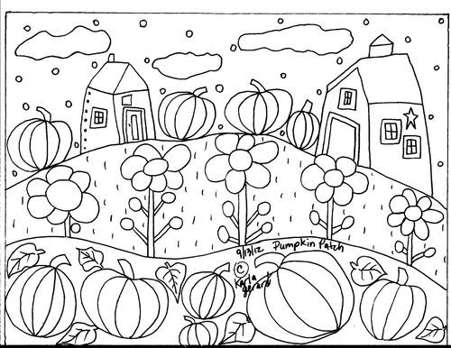 RUG HOOK PAPER PATTERN Pumpkin Patch FOLK ART ABSTRACT Unique ...