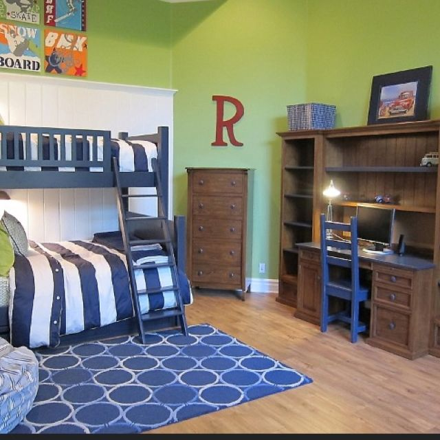 Navy and lime boys room | Orange boys rooms, Green boys ...