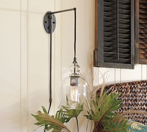 Bathroom Lights With Plugs this pottery barn plug-in lamp is great for a balcony or bedside