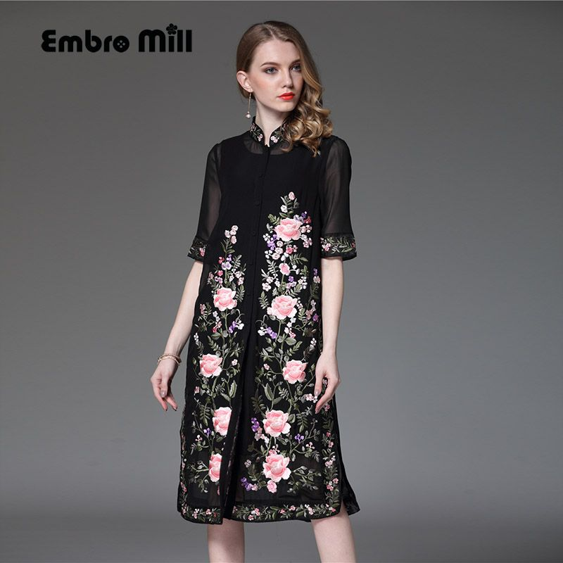 78c694faf5650 Click to Buy << Women embroidered midi summer dress Chinese style ...